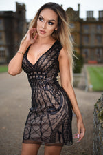 Talya Luxe Black Sequin Lace Midi Dress
