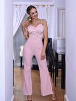 Sonia Pink Strappy Lace Slit Leg Jumpsuit