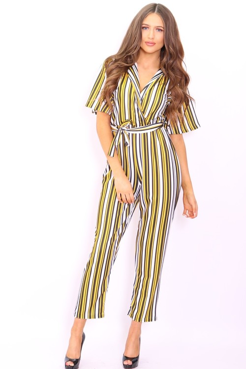 Rae Yellow Stipe Wide Leg Jumpsuit