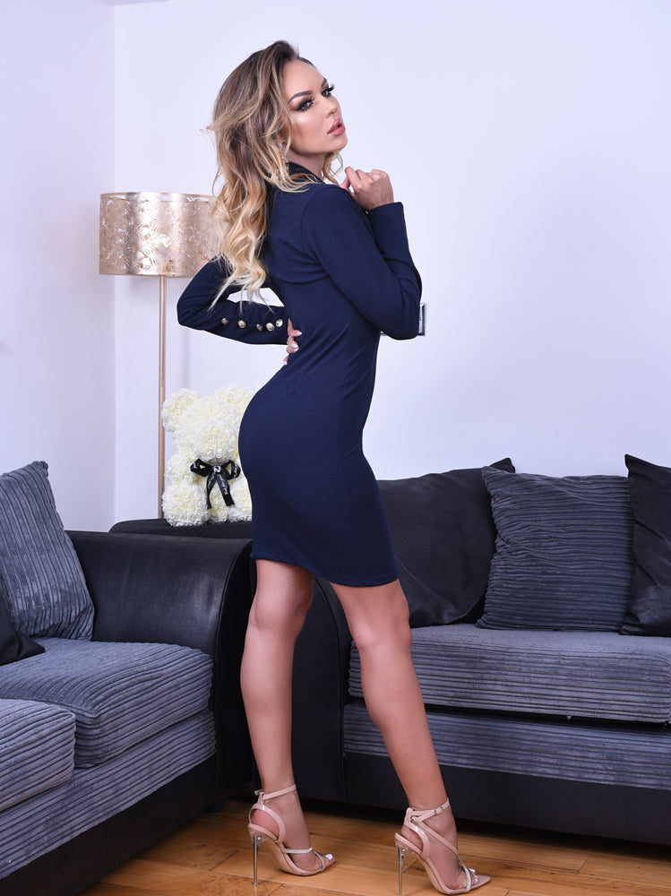 Ashanti Navy Button Long Sleeve Blazer Dress - Missfiga.com