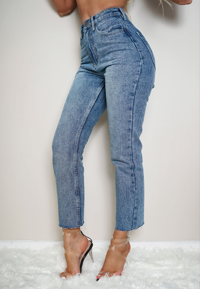 Afia Light Blue Cropped Raw Hem Mom Jeans