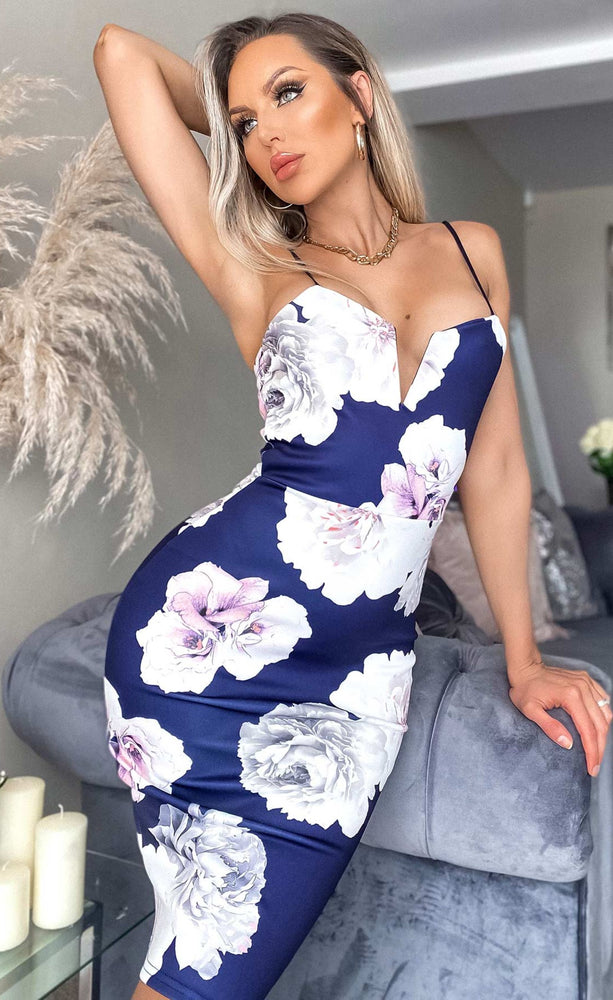 Ava Floral Camisole Strappy Bodycon Dress