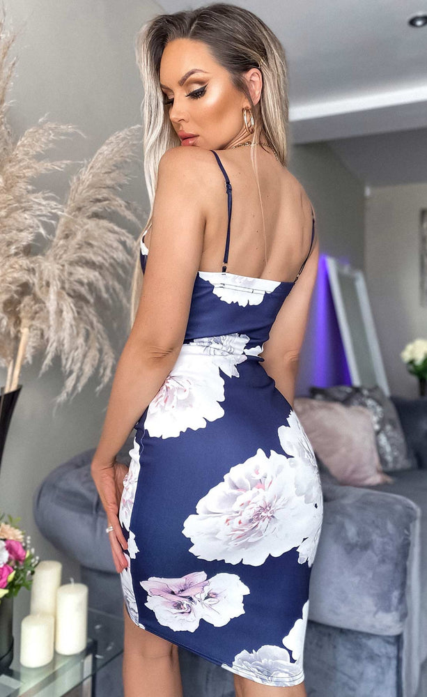 Ava Floral Camisole Strappy Bodycon Dress - Missfiga.com