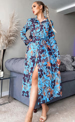 Alys Blue Floral Maxi Shirt Dress