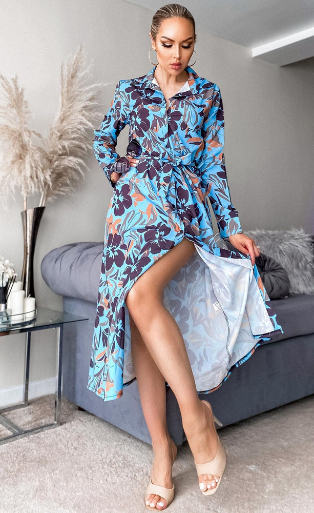 Alys Blue Floral Maxi Shirt Dress - Missfiga.com