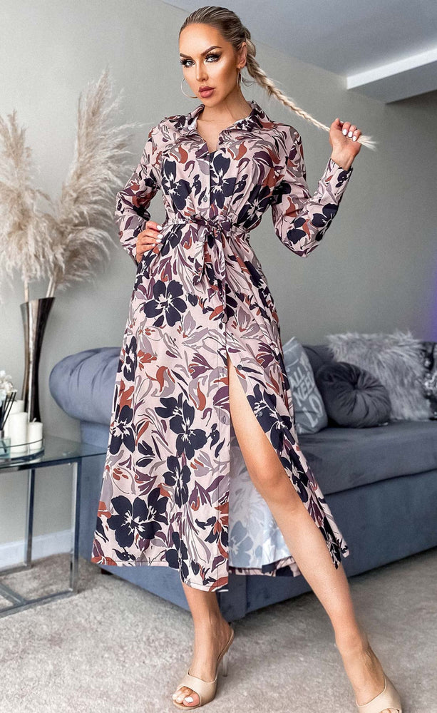 Alys Mocha Floral Maxi Shirt Dress