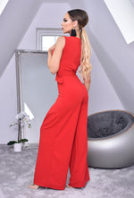 Annie Red Wide Leg Sleeveless Jumpsuit