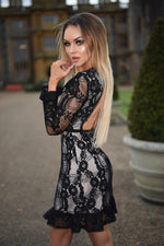 Shae Luxe Black Crochet Lace Midi Dress - Missfiga.com