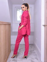 Alison Hot Pink Paper Bag Pocket Belted Trousers - Missfiga.com