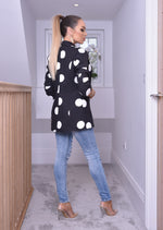 Black Polka Dot Mock Pocket Blazer - Missfiga.com