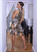 Lizzie Snake Print Wrap Frill Tea Dress - Missfiga.com