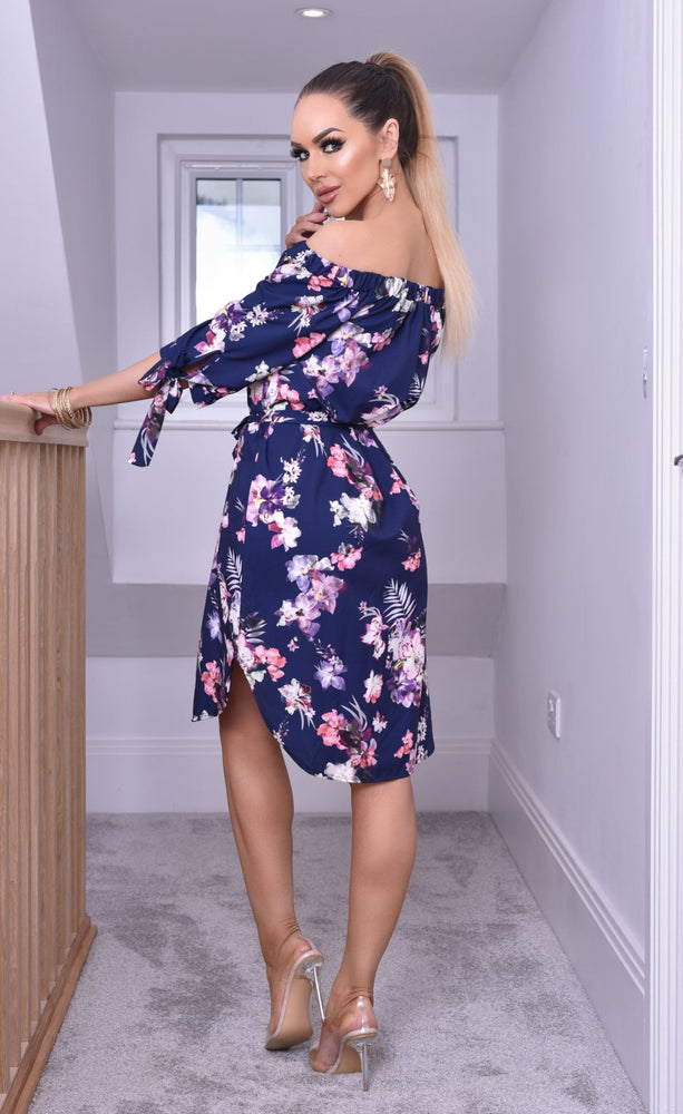 Reena Navy Floral Bardot Shirt Dress - Missfiga.com
