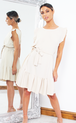 Fawn Stone Frill Shift Dress - Missfiga.com