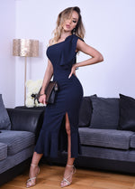Felicity Navy One Shoulder Ruffle Maxi Dress