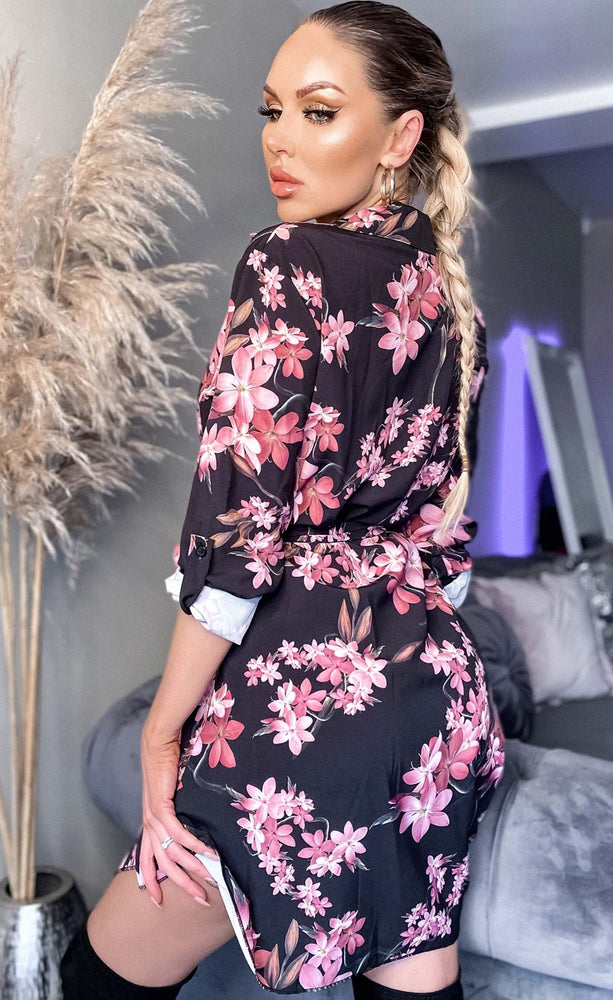 Caroline Black Floral Printed Shirt Dress - Missfiga.com