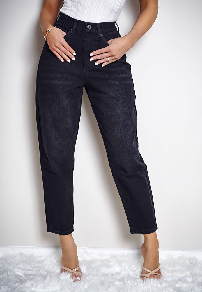 Cora Black Cropped High Waisted Mom Jeans