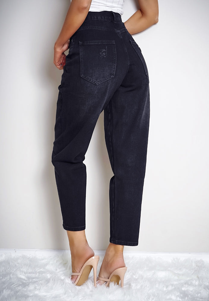 Cora Black Cropped High Waisted Mom Jeans - Missfiga.com