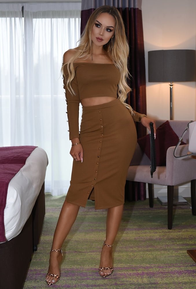 Sienna Tan Button Bardot Co-Ord Set