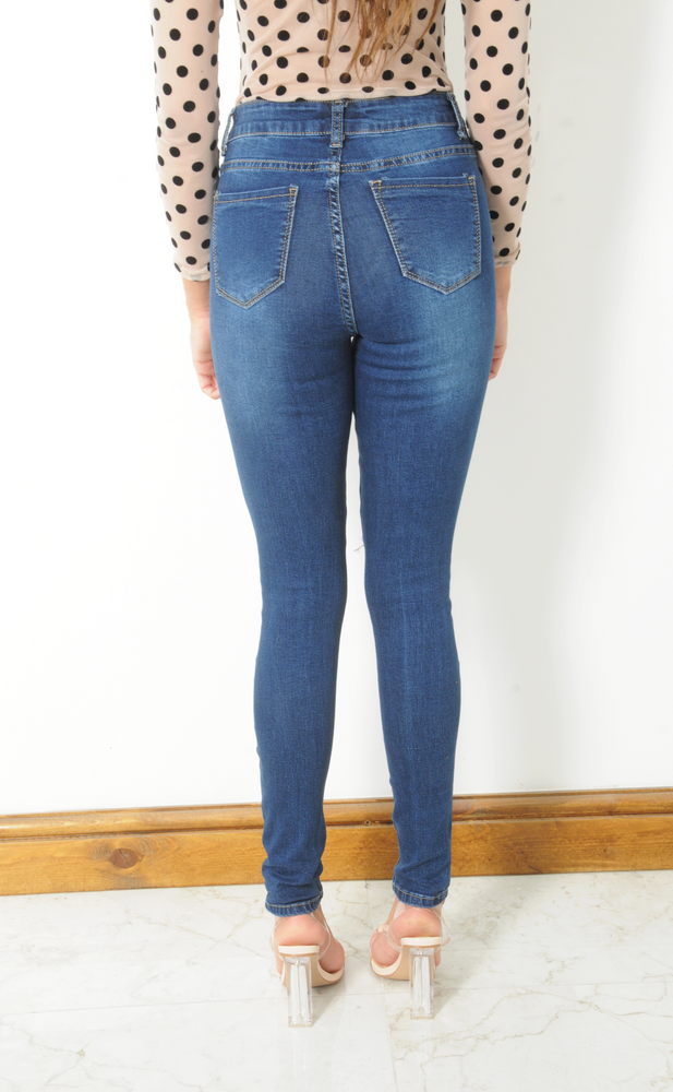 Dark Blue High Waisted Multi Ripped Skinny Jeans - Missfiga.com