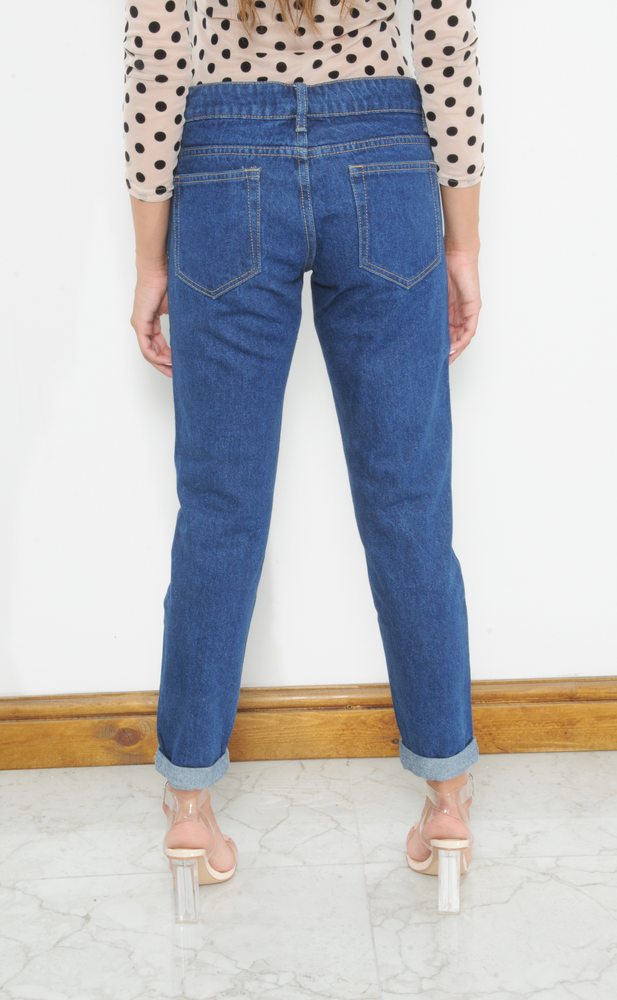 Abigail Indigo Knee Ripped Detail Mom Jeans