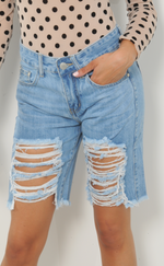 Extreme Distressed Light Blue Denim Shorts - Missfiga.com