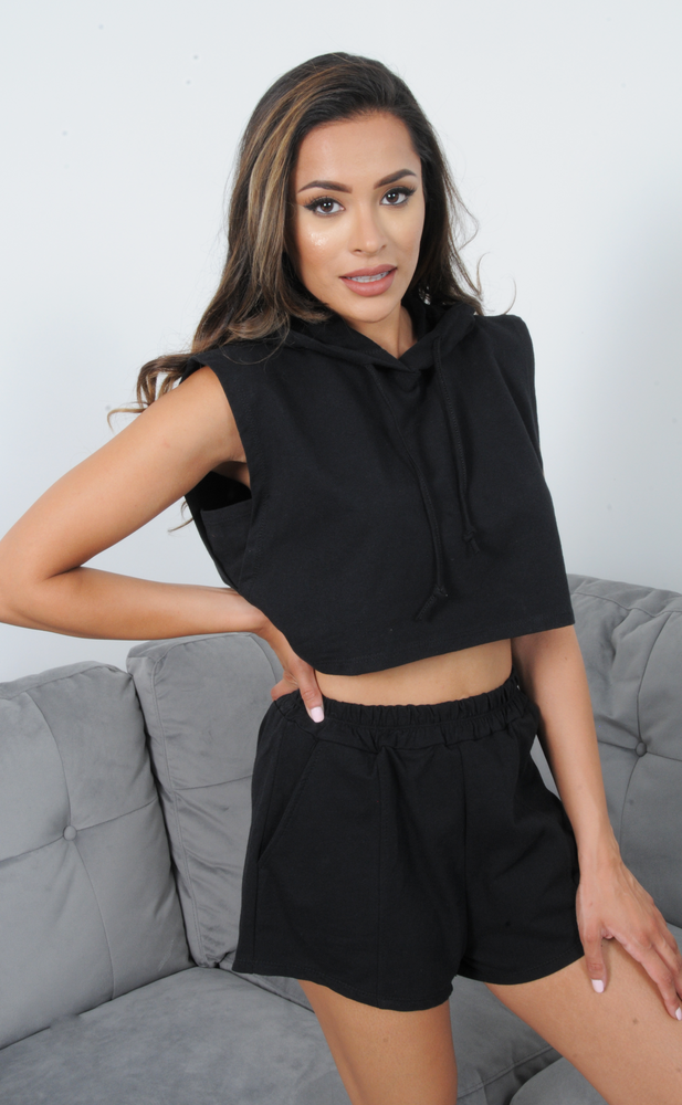 Romi Black Cropped Hoddie & Shorts Co-Ord Set
