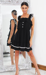Janet Black Lace Trim Strappy Frill Mini Dress - Missfiga.com