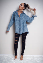Fiona Light Blue Washed Denim Shirt - Missfiga.com