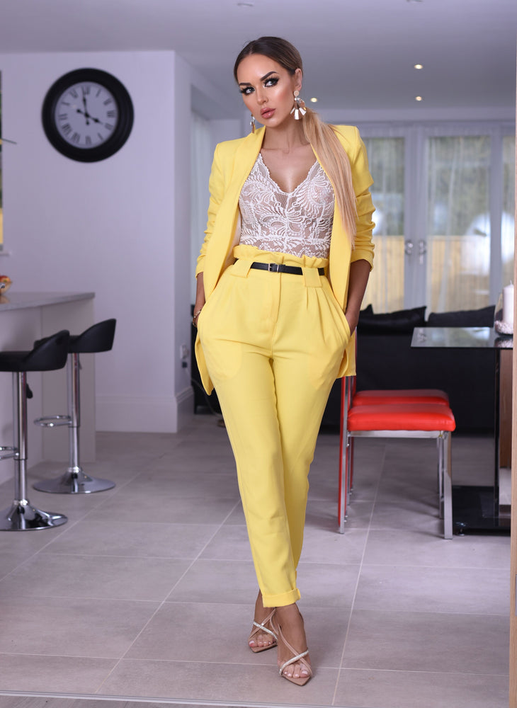 Rihanna Lemon Mock Pocket Blazer