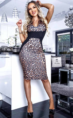 Jane Illusion Leopard Panel Dress - Missfiga.com