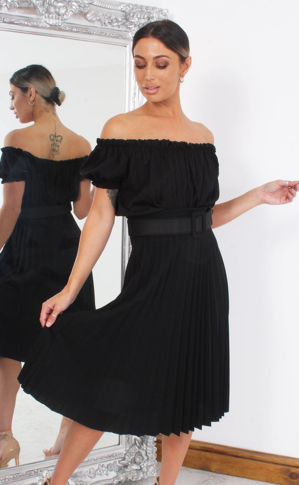 Black Pleated Midi Skirt - Missfiga.com