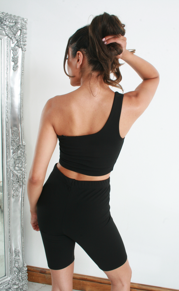 Dixie Black One Shoulder Cycling Short Co-ord Set - Missfiga.com