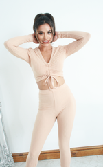 Marsha Stone Ruched Crop Top Ribbed Lounge Set