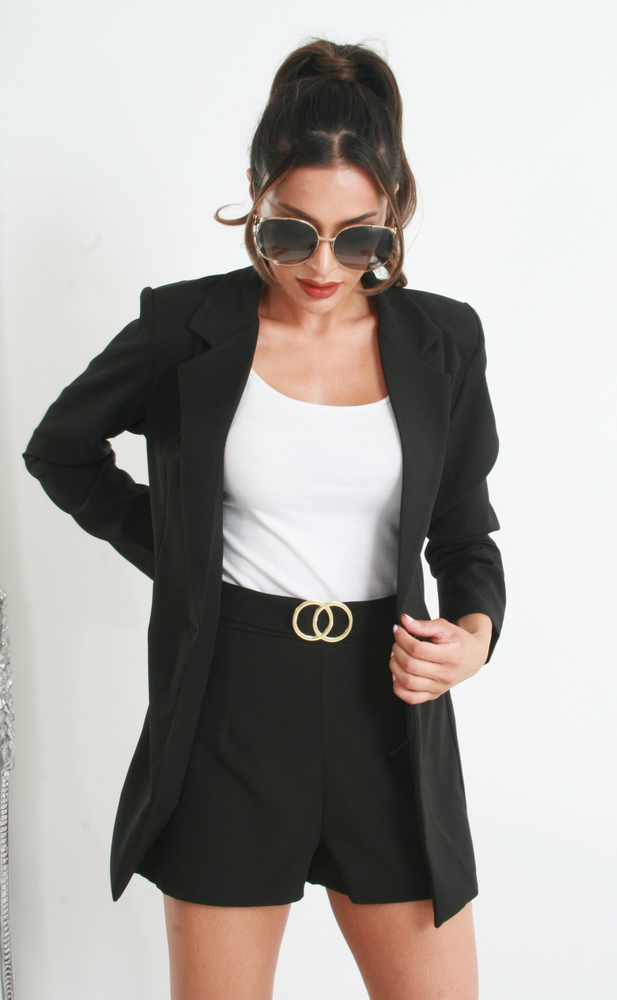 Vickie Black Blazer and Shorts Co-ord - Missfiga.com