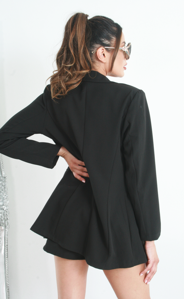 Vickie Black Blazer and Shorts Co-ord