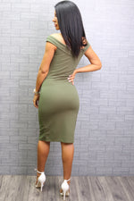 Vinnay Khaki Wrap Off The Shoulder Midi Dress