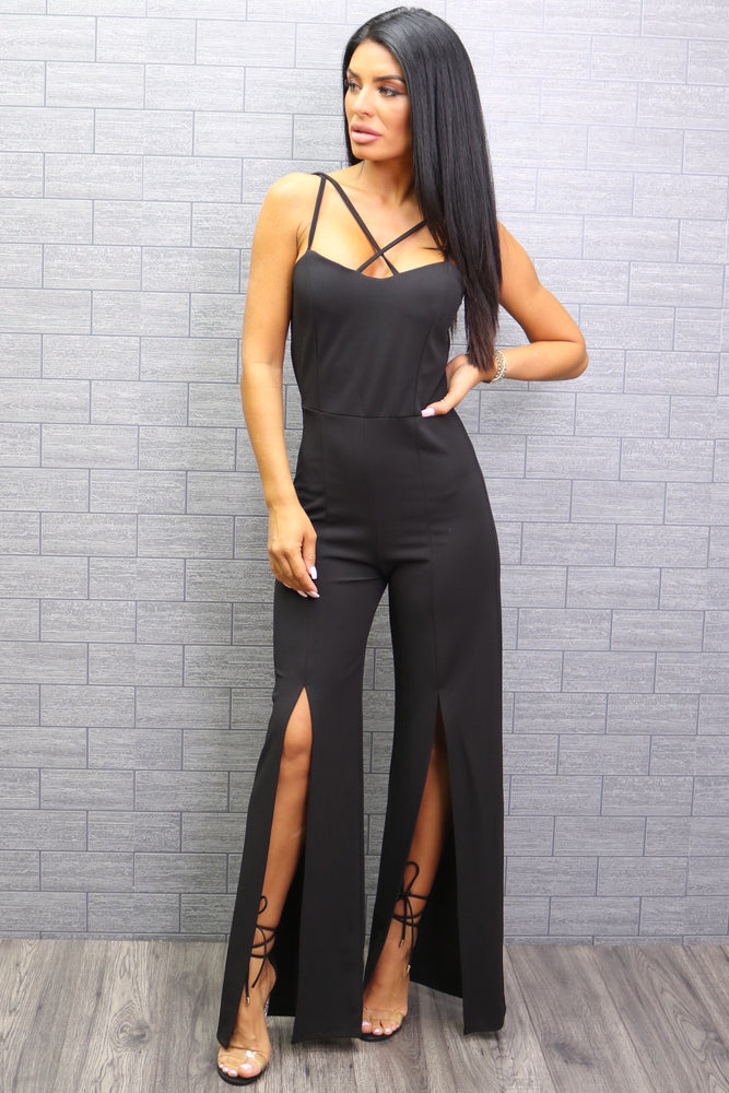 Holly Black Strappy Slit Leg Jumpsuit