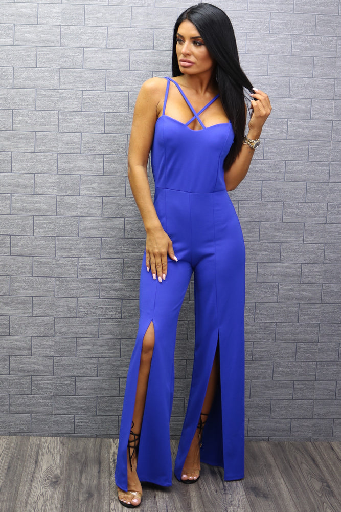 Holly Cobalt Strappy Slit Leg Jumpsuit