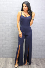 Holly Navy Strappy Slit Leg Jumpsuit