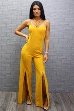 Holly Mustard Strappy Slit Leg Jumpsuit