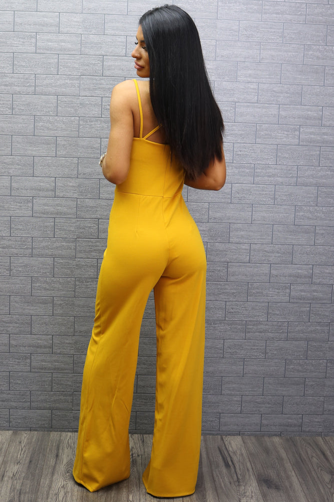 Holly Mustard Strappy Slit Leg Jumpsuit - Missfiga.com