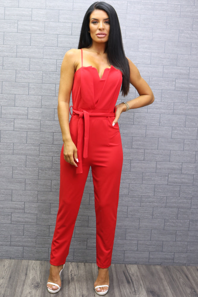 Leia Red Bandeau Belted Jumpsuit