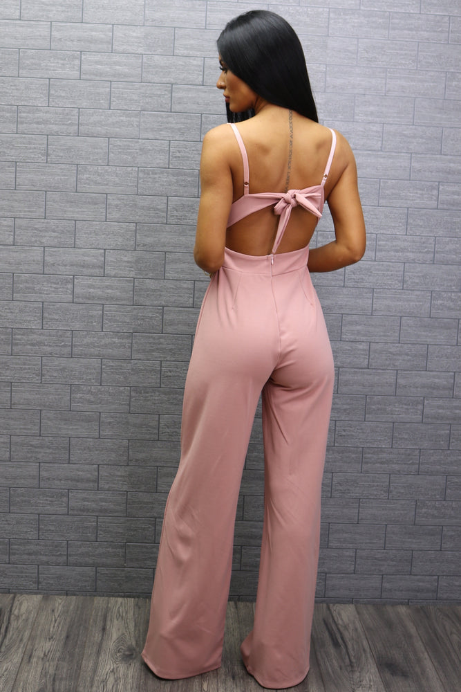 Flack Blush Wrap Strappy Knotted Back Jumpsuit