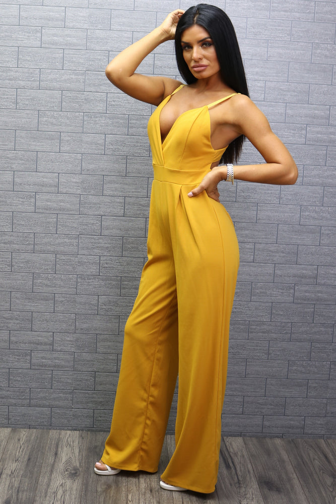 Flack Mustard Wrap Strappy Knotted Back Jumpsuit