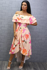 Celine Peach Floral Wrap Off the Shoulder Frill Dress