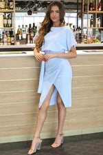 Judith Baby Blue Wrap Front Batwing Dress - Missfiga.com