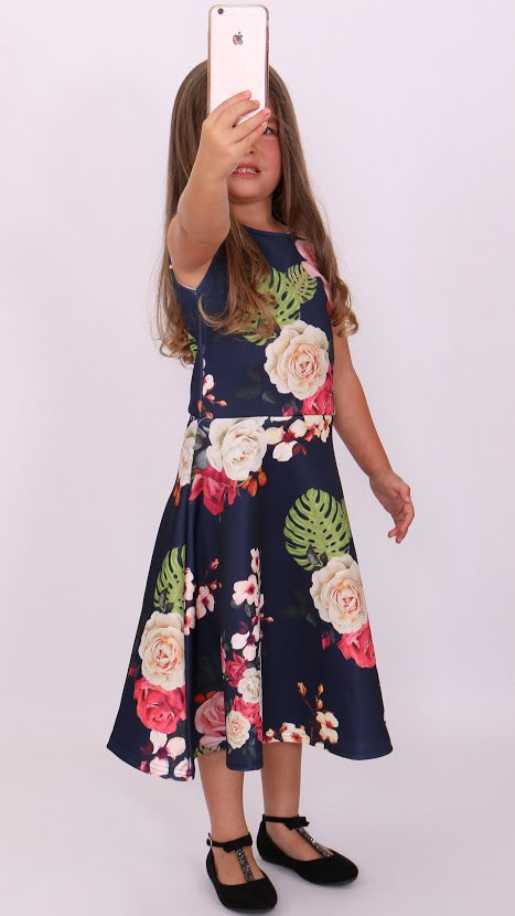 Children's Ciara Floral Skater Dress - Missfiga.com