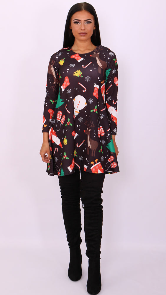 Black Festive Mix Christmas Swing Dress