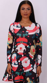 Black Santa's Crew Christmas Swing Dress