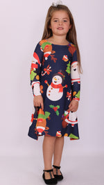 Kids Navy Santa & Friends Christmas Swing Dress